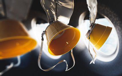 Airplane oxygen masks / 3D rendering, illustration